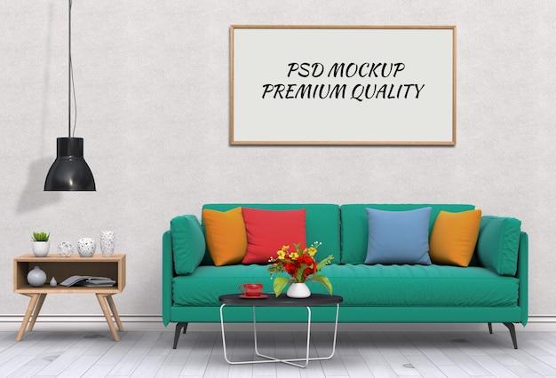 インテリアリビングルームとソファのポスターフレームのモックアップ