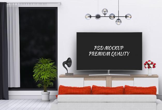 スマートテレビ、キャビネット、ソファが備わるモダンなリビングルーム。