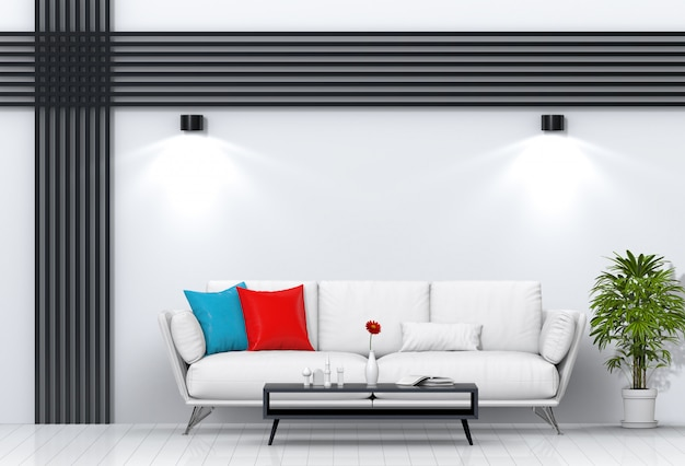 Интерьер гостиной освещения комнаты с диваном.