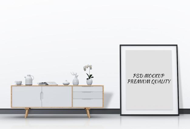 Интерьер гостиной с буфетом и макет пустой плакат.
