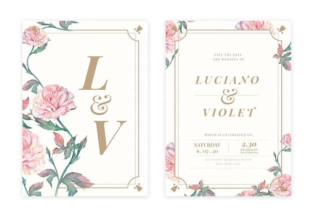 手描きの花の結婚式の招待カード