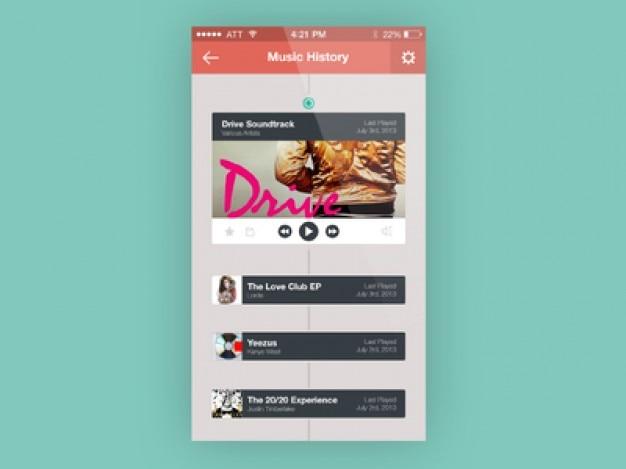 音楽アプリの履歴画面