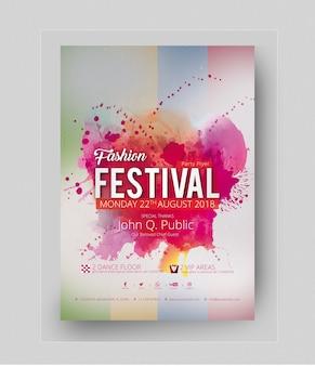 ピンクの汚れと抽象的なパーティーポスターの模擬