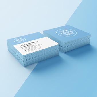 Готовый квадратный фотореалистичный макет шаблона дизайна визитной карточки с двумя стопками