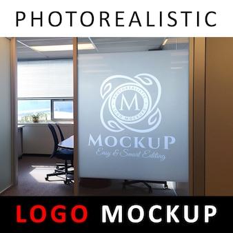 ロゴモックアップ - サンドブラストガラスオフィス
