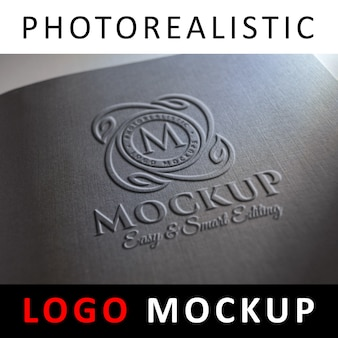 Макет логотипа - тисненый логотип на черной обложке