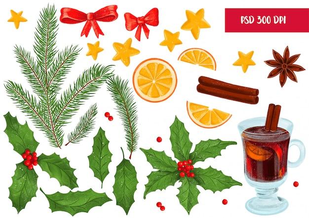 クリスマスの装飾の要素のセット