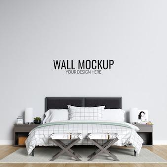インテリアの寝室の壁のモックアップの背景