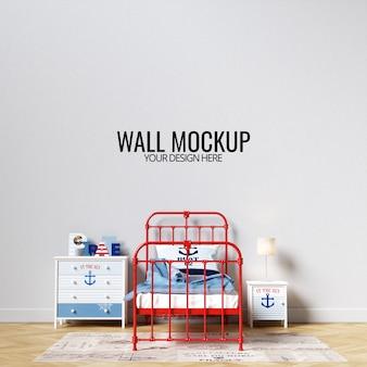 インテリアの子供の寝室の壁のモックアップ