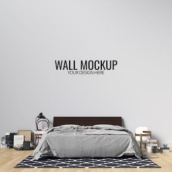 インテリアの寝室の壁の背景のモックアップ