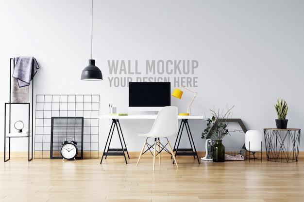 Красивая белая стена макет интерьера рабочей области в скандинавском стиле
