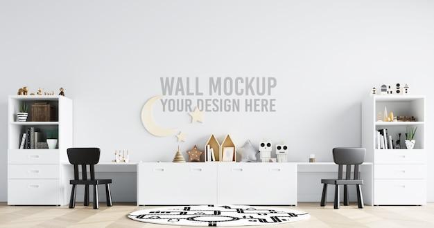 壁のモックアップインテリアキッズプレイルームの装飾