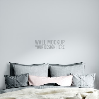 インテリア寝室の壁のモックアップ