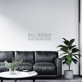 近代的なオフィスロビー待合室の壁のモックアップ