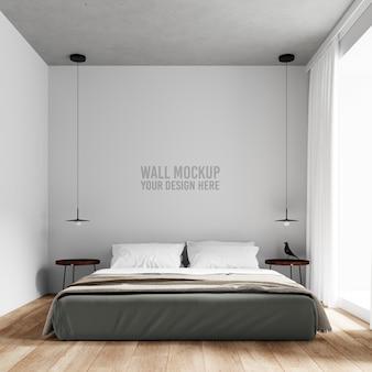 インテリアの寝室の壁のモックアップ