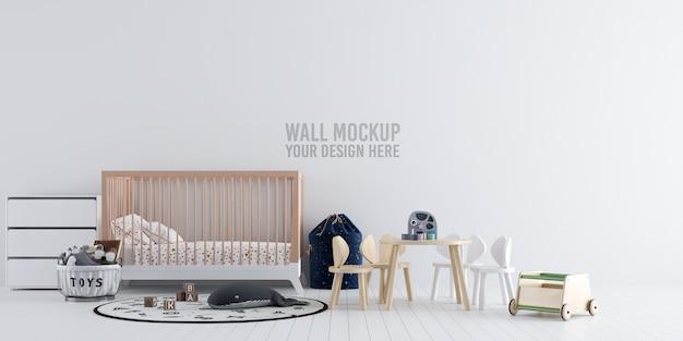 インテリアの子供の寝室の壁紙のモックアップ
