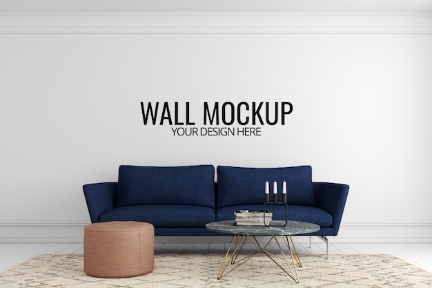 Настенный макет в белом интерьере с диваном и отделкой