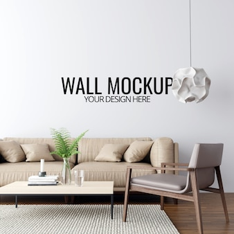 モダンなインテリアのリビングルームの壁のモックアップの背景
