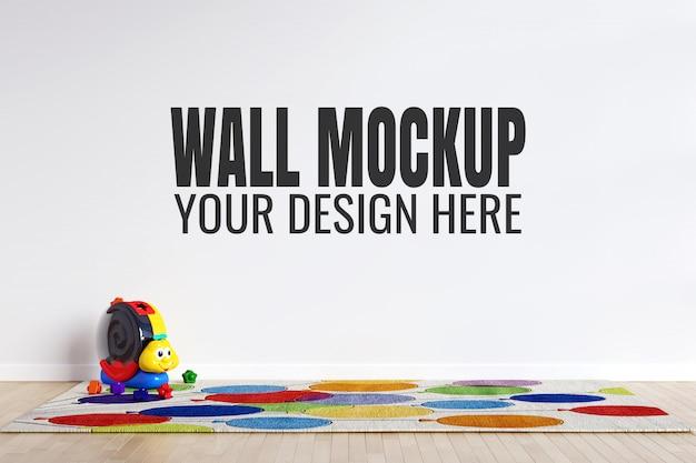 おもちゃの装飾が付いている子供のプレイルームの内壁のモックアップ