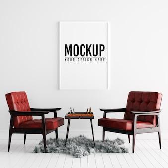 装飾と白いインテリアのポスターフレームモックアップ