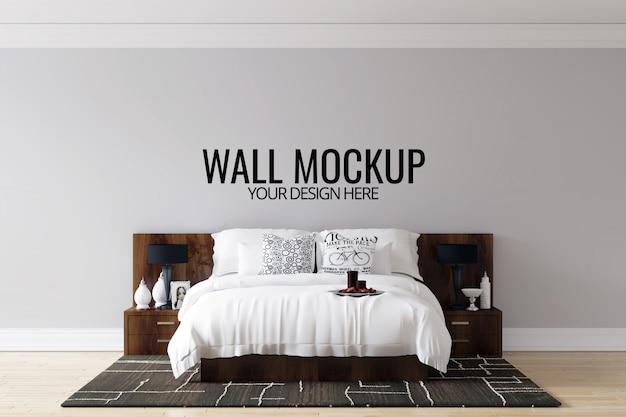 インテリア寝室の壁の背景モックアップ