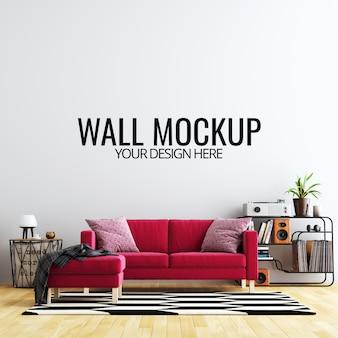 Интерьер гостиной стены фон макет с мебелью и отделкой