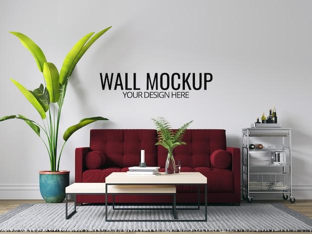 モダンなインテリアのリビングルームの壁の背景のモックアップ、家具と装飾