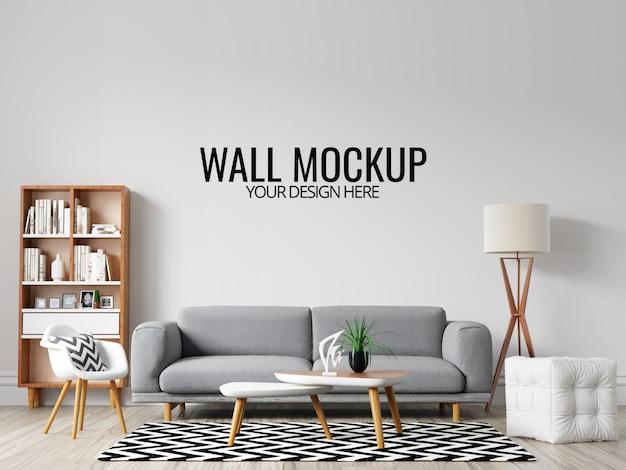 Современный интерьер гостиной стены фон макет с мебелью и декором