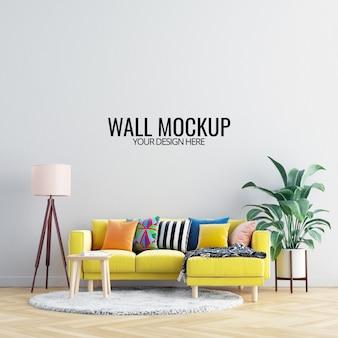 Интерьер гостиной стены макет с мебелью и отделкой