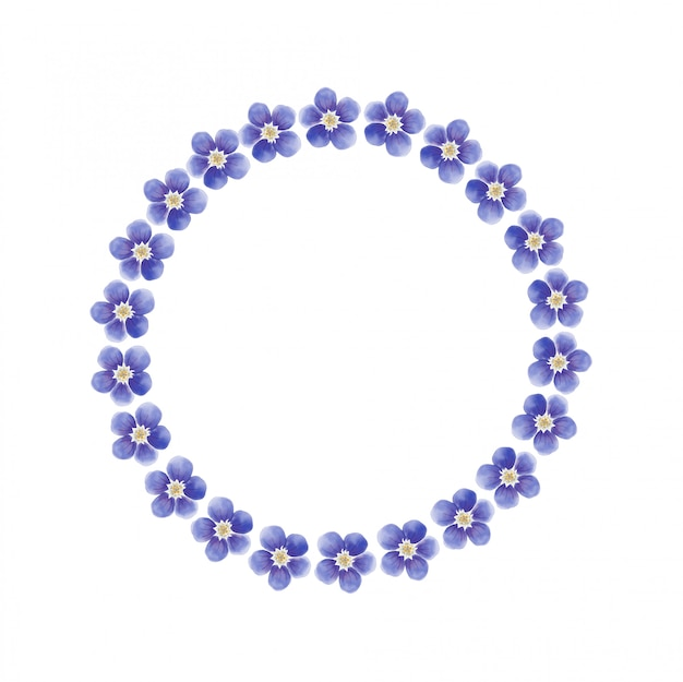 水彩ブルー忘れな草の花の花輪