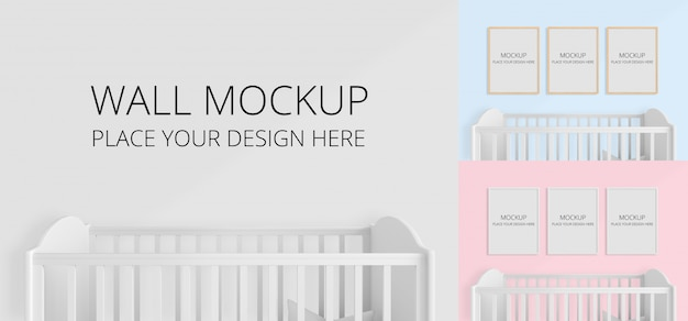 子供の寝室のモックアップの壁と空白のフォトフレーム