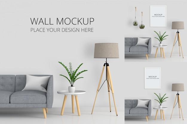 リビングルームのモックアップの壁と空白のフォトフレーム