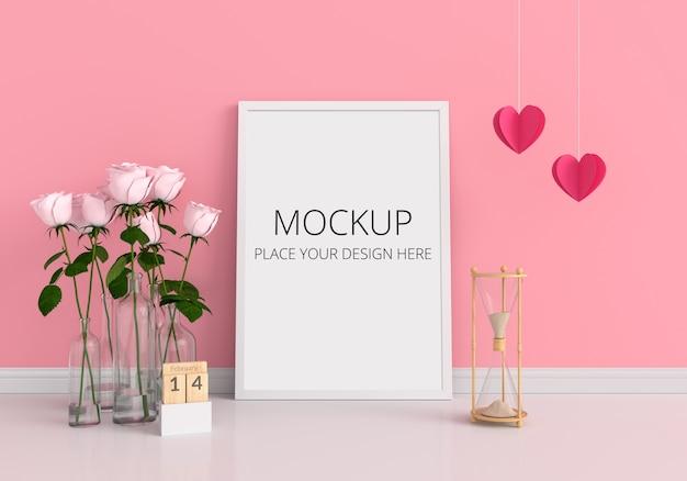 モックアップ、バレンタインコンセプトの空のフォトフレーム