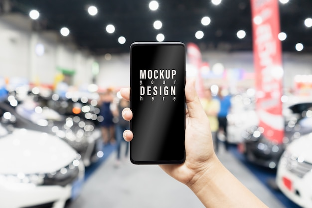 オンラインショッピング携帯電話車のモックアップ