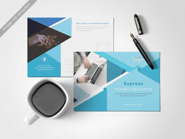 最小限のきれいなポストカードのデザインテンプレート