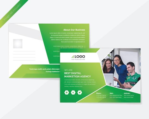 グリーンコーポレートポストカードデザイン