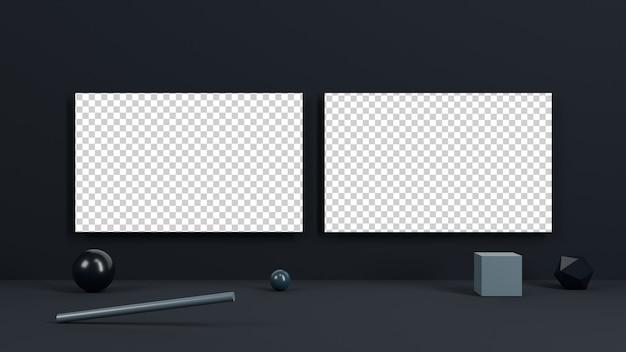 Визитная карточка на черном фоне и геометрической формы фона