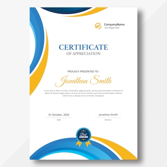 Сертификат вертикальной оранжевой и синей формы