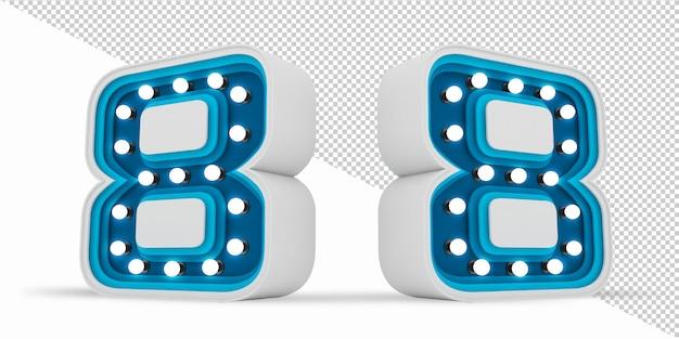 カラフルな番号電球看板