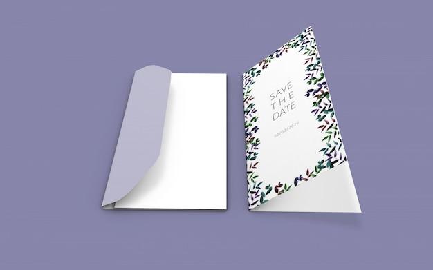 結婚式の自然カードモックアップ