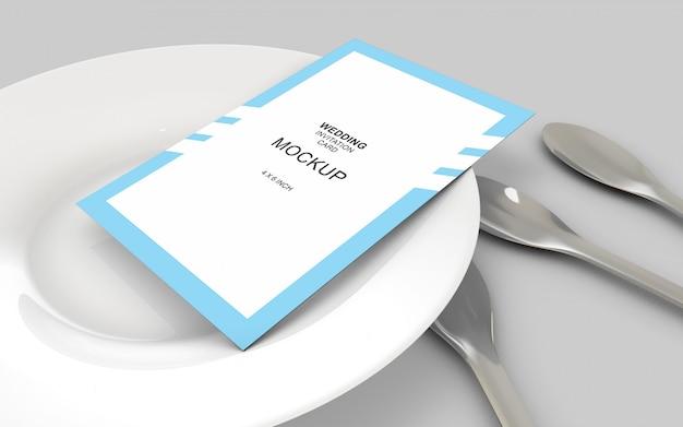 ウェディングカードの招待状のモックアップテンプレート
