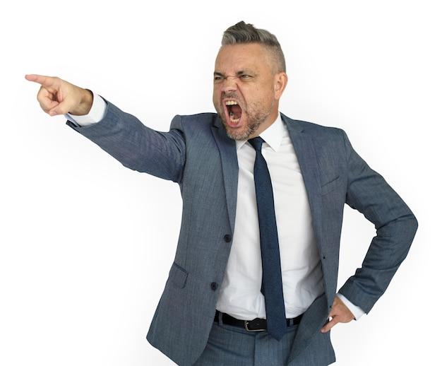 怒っている白人のビジネスマン