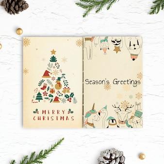 Рождественские иллюстрации в макет ноутбука