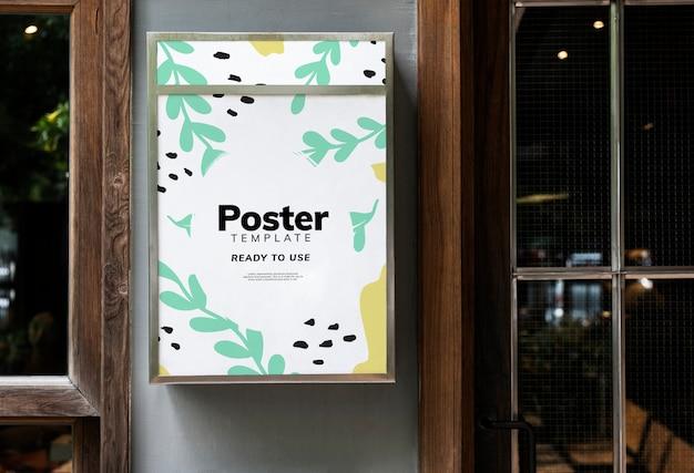 カラフルなレストランの看板のモックアップデザイン