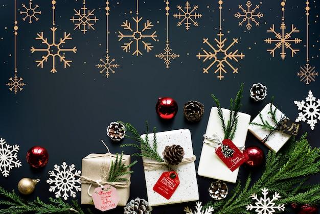 クリスマスシーズンの装飾デザインの壁