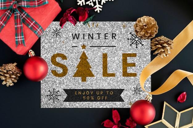 半額の冬の販売サインモックアップ