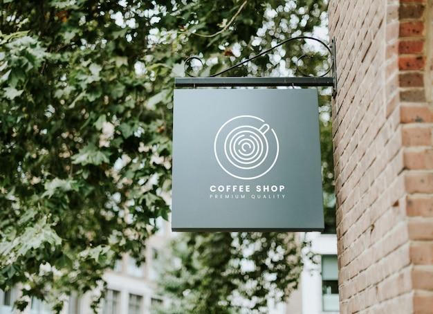 コーヒーショッププレミアム品質のボードモックアップ