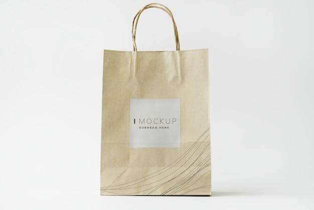茶色の紙袋デザインモックアップ