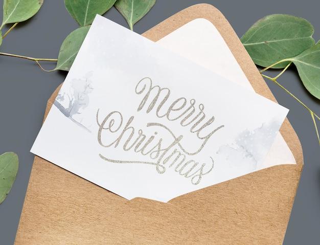 クリスマスホリデーグリーティングデザインモックアップ