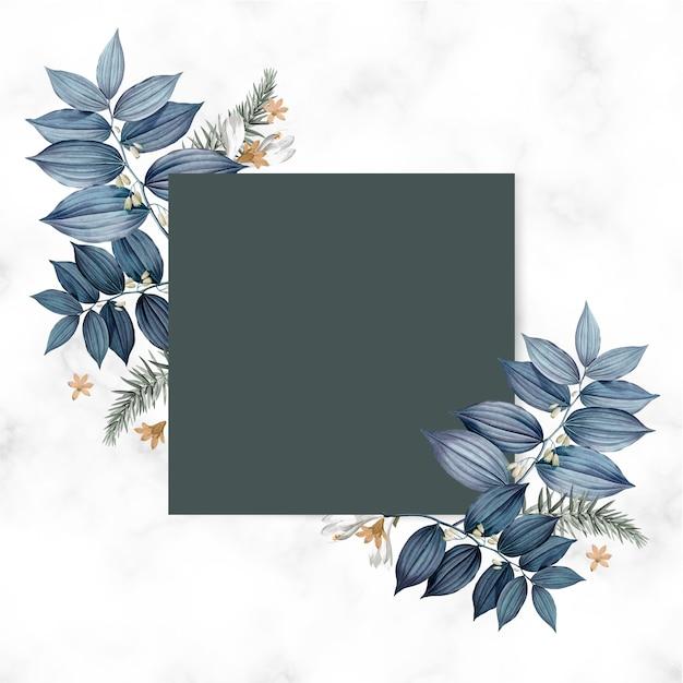 Голубая цветочная открытка